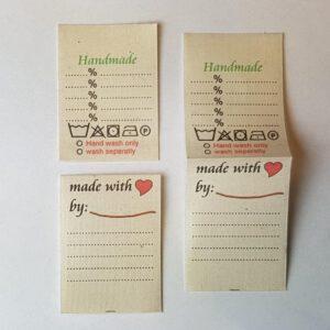 Universal Textiletiketten aus Bio-Baumwolle English