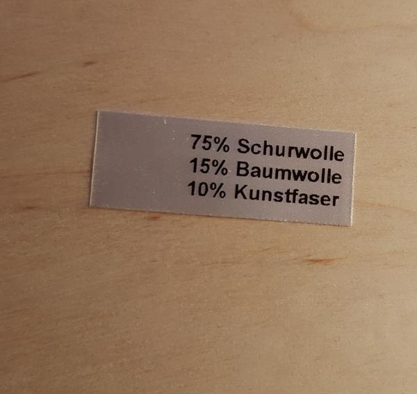 Restposten Textiletiketten mit Hauptanteil 75% Schurwolle, 25 Stück