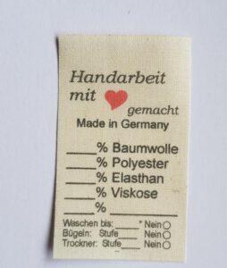 Shop Naturbaumwolle Universal Textil-Label mit Waschanleitung, beschreibbar. es ist hier keine Ginetex Lizenz erforderlich.