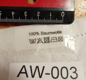 Baumwolle 100% Aufdruck, fertige Etiketten zum Einnähen hier zum Sonderpreis.
